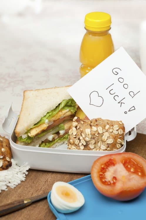 Good luck note in lunchbox