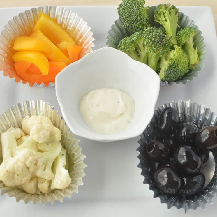 21 Days of Things to Do with A Picky Eater, veggies and dip, broccoli and cauliflower and olives and pepers