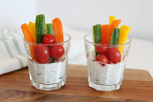 fresh veggies in homemade dip cups