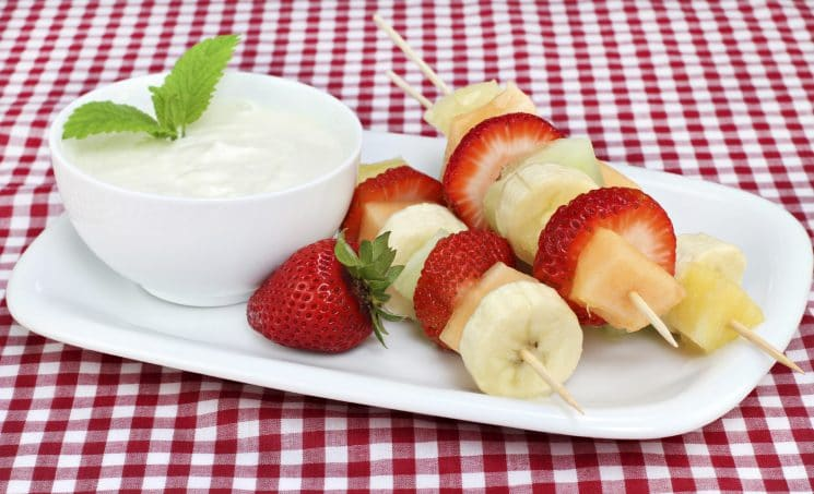 Fresh fruit kabobs and dip