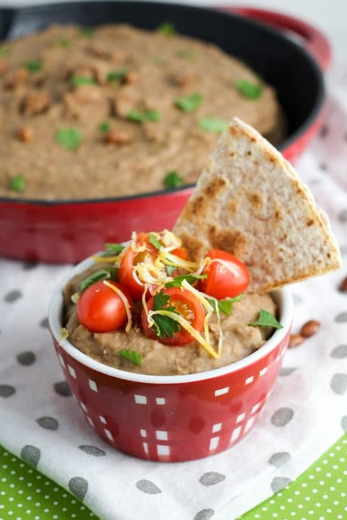 Serve refried beans with whole wheat quesadillas - yum!