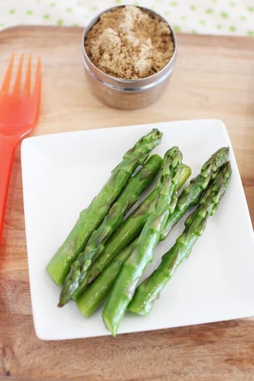 brown sugar asparagus on a plate