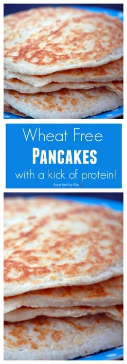 Wheat free Pancakes with a kick of protein! Our whole family loves these pancakes! https://www.superhealthykids.com/wheat-free-pancakes-with-a-kick-of-protein/