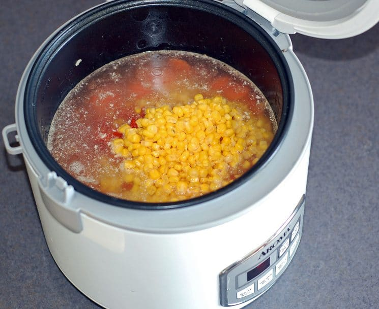 Taco Soup in the Rice Cooker. We love this way of cooking taco soup! Perfect bridge between crockpot and stove top, when you only have 45 minutes you can't be in the kitchen!