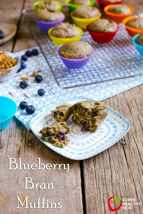 Blueberry Bran Muffins. Packed with nutrition and delicious flavor. www.superhealthykids.com