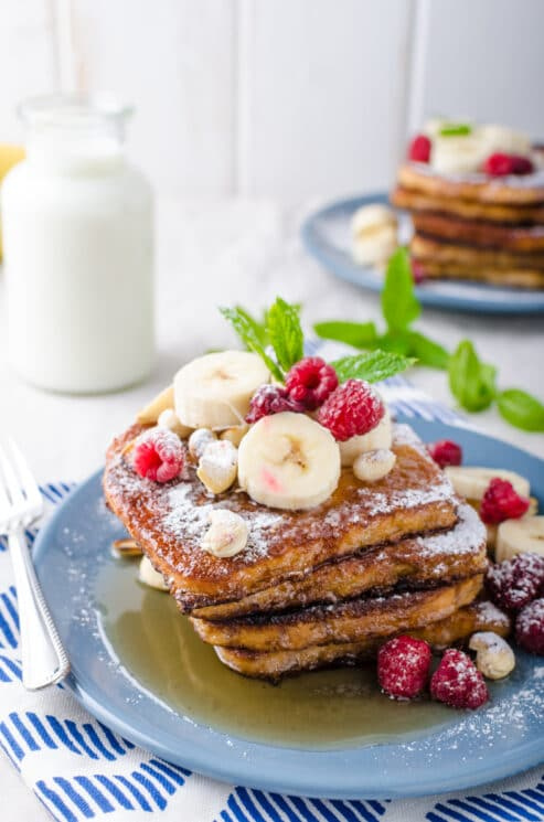 Flax French Toast Healthy Breakfast Idea for Kids with raspberries and bananas