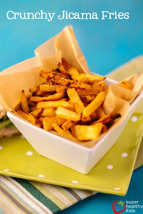 Jicama Fries. Easy, no-bake, raw fries! We love this snack because it's easy PLUS it's good for kids