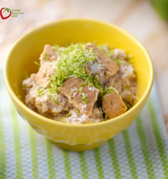 Key Lime Pie Oatmeal. Healthy breakfast or delicious dessert? Your kids won't know which!