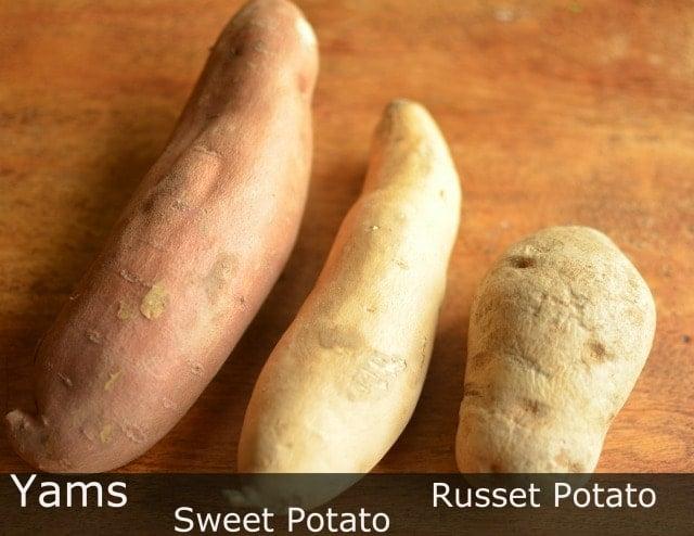 a yam, sweet potato and russet potato