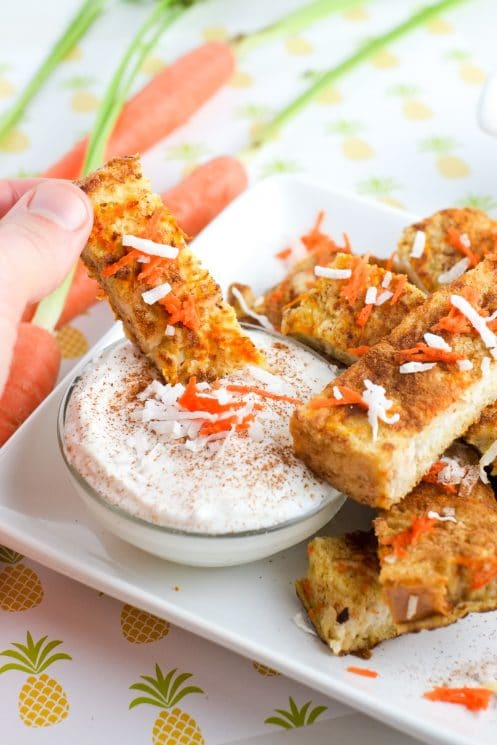 Dip carrot cake french toast sticks in yogurt for a healthy breakfast | Super Healthy Kids | Food and Drink