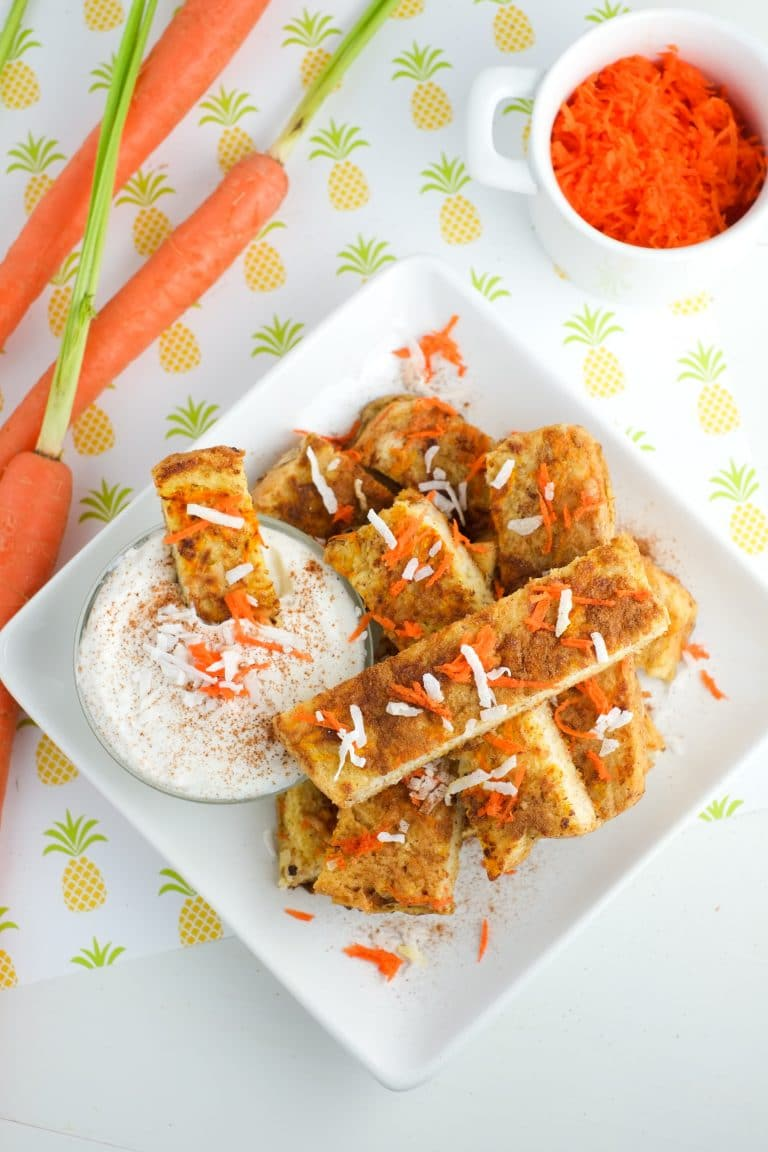 Slices of healthy breakfast carrot cake french toast dipped in yogurt! | Super Healthy Kids | Food and Drink