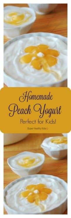 Homemade Perfect Peach Yogurt for Kids! Flavored yogurt- Homemade style! https://www.superhealthykids.com/homemade-perfect-peach-yogurt-for-kids/