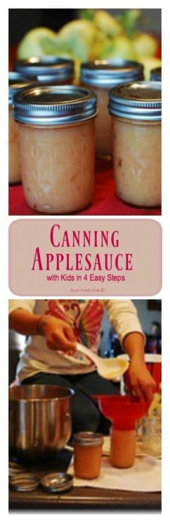 Canning Applesauce with Kids in 4 Easy Steps. Canning your own lets you make it as thick as you like! https://www.superhealthykids.com/canning-applesauce-with-kids-in-4-easy-steps/