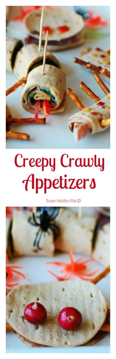 Creepy Crawly Appetizers. Don't let Halloween go by without trying these creepy crawly sandwiches! https://www.superhealthykids.com/creepy-crawly-appetizers/