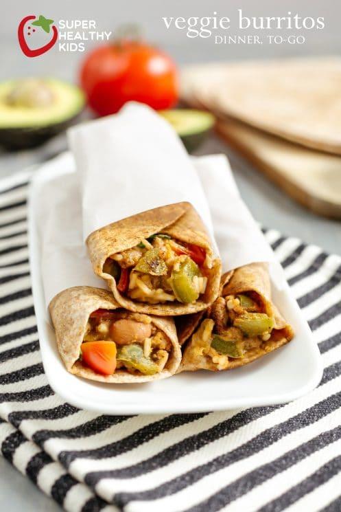 Veggie Burritos: Dinner-To-Go. Burrito recipe for a dinner idea when you are on the go!