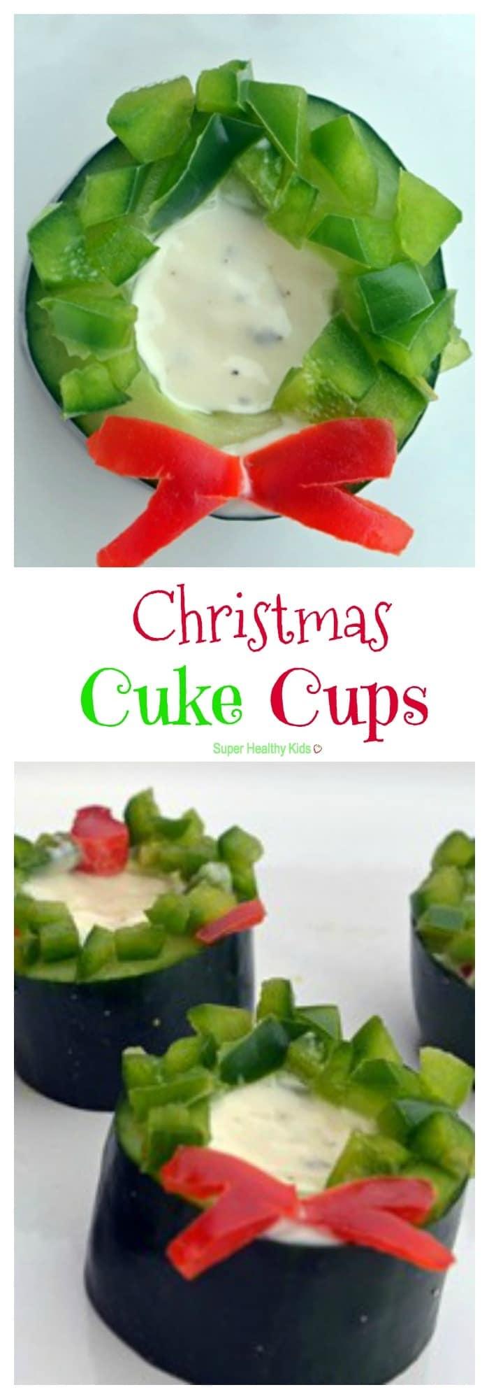Christmas Cuke Cups. Veggies have never been so festive! https://www.superhealthykids.com/christmas-cuke-cups/