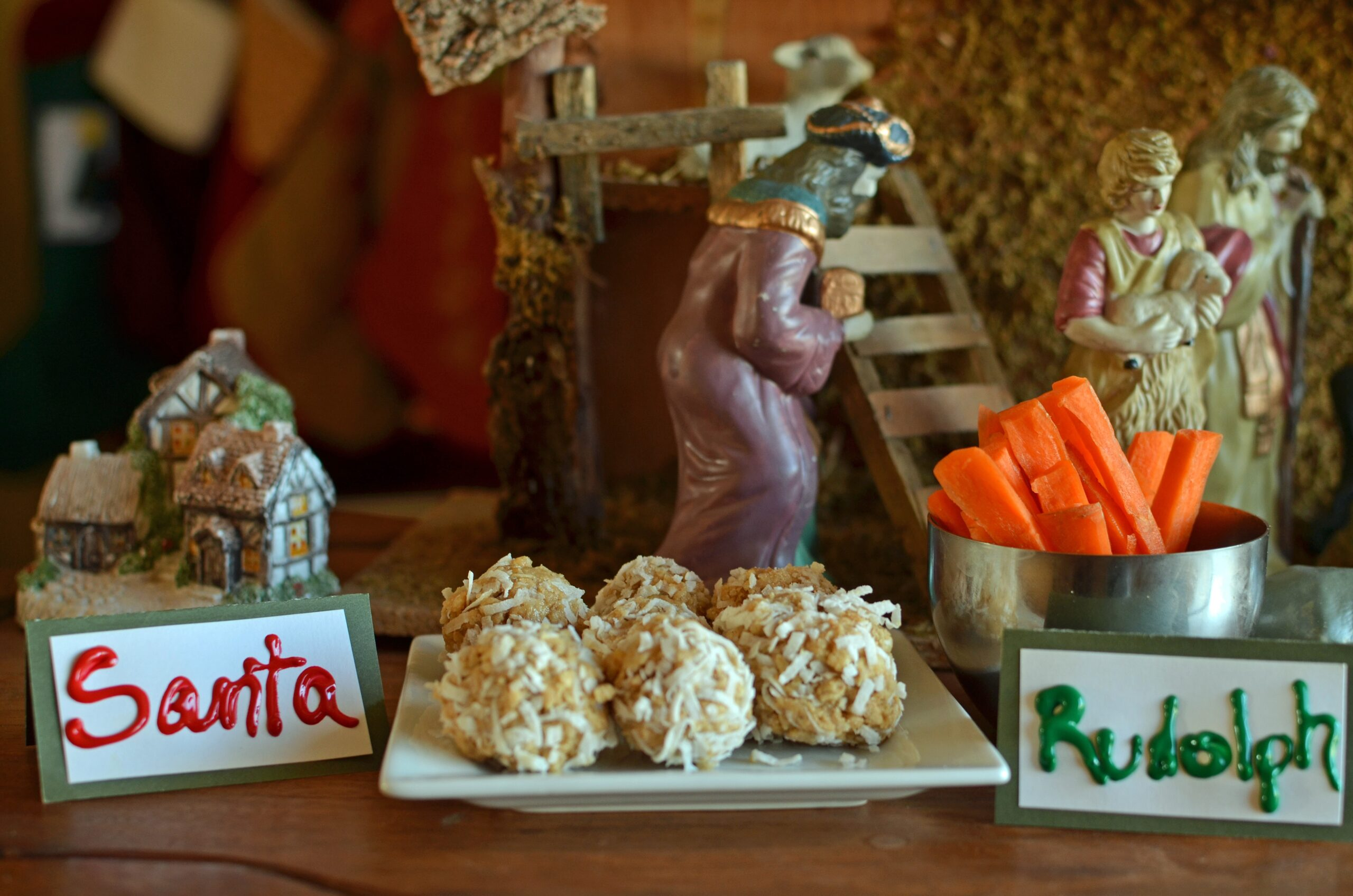 No Bake Snow Balls for Santa and Veggies for Rudolph