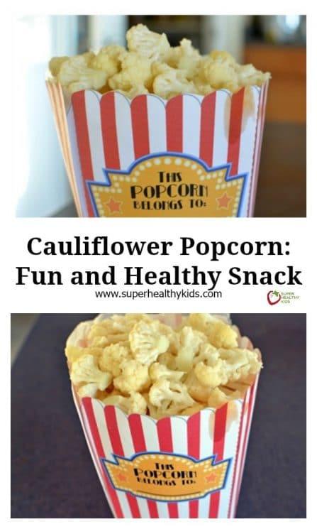 FOOD - Cauliflower Popcorn: Fun and Healthy Snack. Give us cauliflower and we'll give you popcorn! https://www.superhealthykids.com/cauliflower-popcorn-fun-and-healthy-snack/