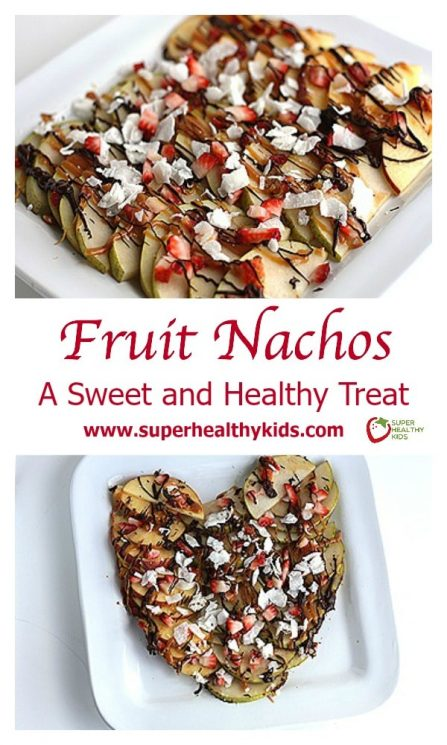 FOOD - Fruit Nachos. A Sweet and Healthy Treat. Freshly shaved coconut makes these apple nachos even better! https://www.superhealthykids.com/fruit-nachos-a-sweet-and-healthy-valentines-treat/