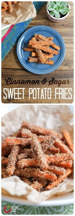 FOOD - Cinnamon and Sugar Sweet Potato Fries | Super Healthy Kids | Food and Drink https://www.superhealthykids.com/extra-sweet-sweet-potato-fries/