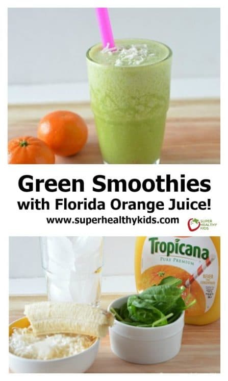 Green Smoothies with Florida Orange Juice! Ease your picky eater into smoothies with this yummy recipe