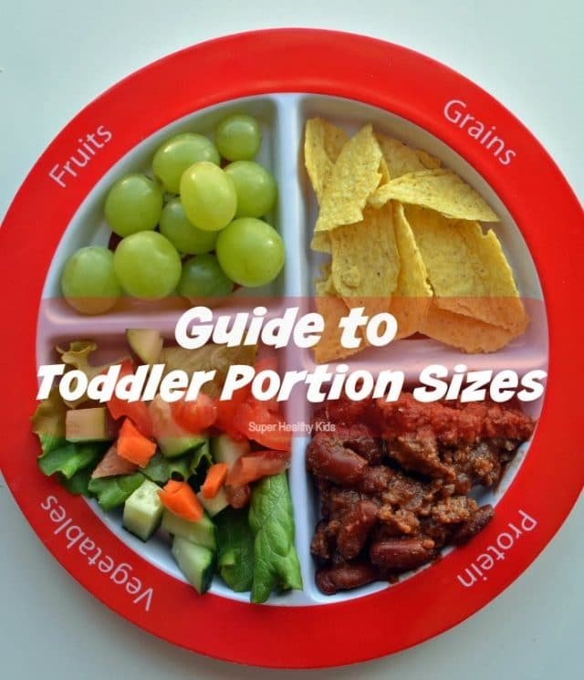 Guide to Toddler Portion Sizes. It's important to be aware of toddler portion sizes, too! Here's our comprehensive guide to toddler nutrition! https://www.superhealthykids.com/guide-to-toddler-portion-sizes/