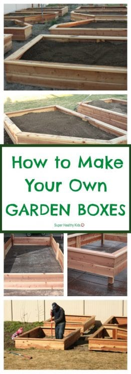 GARDENING - How to Make Your Own Garden Boxes. Everything you need to make this happen in your yard this year! https://www.superhealthykids.com/how-to-make-your-own-garden-boxes/