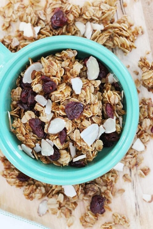 granola with cranberries and slice almonds