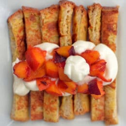 French toast sticks with peaches and cream