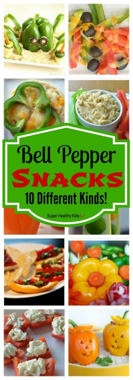 FOOD - 10 Bell Pepper Snacks. Bell peppers are super versatile...here are our 10 favorite snacks! https://www.superhealthykids.com/10-delicious-snacks-with-bell-peppers/