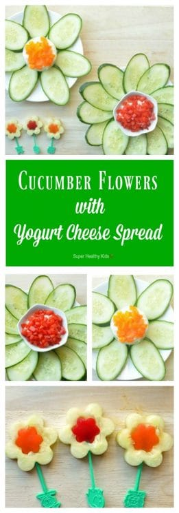 Cucumber flowers with pepper yogurt cheese spread. Strained yogurt makes a high protein dip, perfect for veggies like cucumbers! https://www.superhealthykids.com/cucumber-flowers-with-yogurt-cheese-spread/