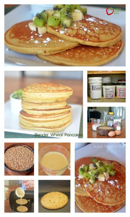 FOOD - Blender Wheat Pancakes Recipe with Kiwi and Bananas. Whole Wheat kernels create the fluffiest pancakes! https://www.superhealthykids.com/blender-wheat-pancakes-with-kiwi-and-bananas/