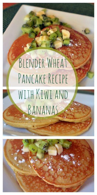 Blender Wheat Pancake Recipe with Kiwi and Bananas