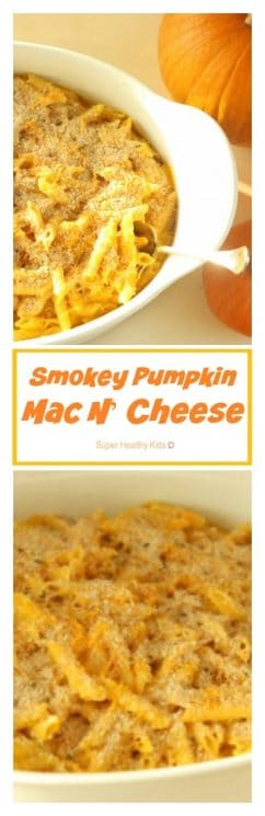 Smokey Pumpkin Mac N' Cheese Recipe. Not your regular mac & cheese. https://www.superhealthykids.com/smokey-pumpkin-mac-n-cheese/