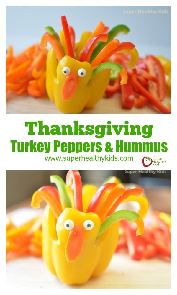 Thanksgiving Turkey Peppers and Hummus. It's never too early to start celebrating Thanksgiving! https://www.superhealthykids.com/thanksgiving-turkey-peppers-and-hummus/