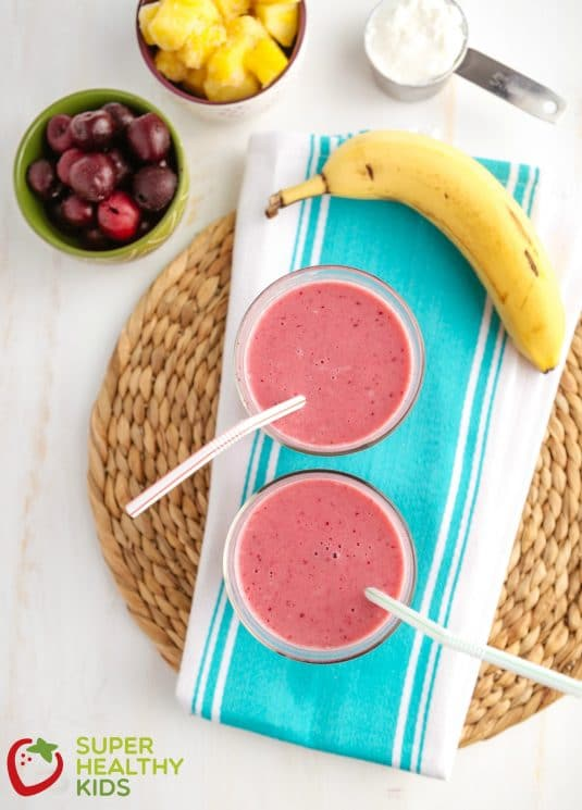Cherry Pineapple Smoothie for Kids. Smoothies in the winter are a great way to get your vitamins in when most fruits aren't in season.