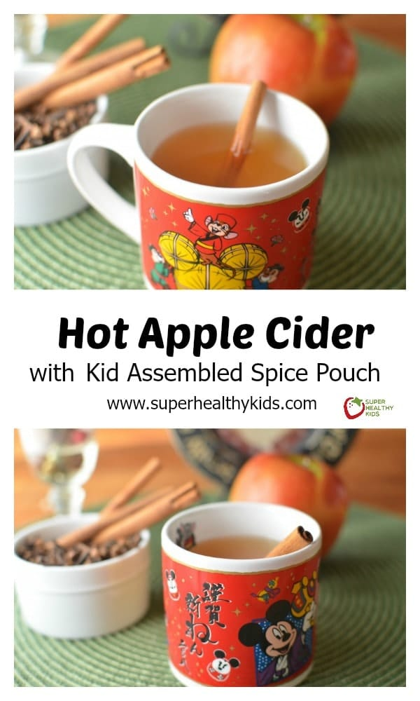 Hot Apple Cider with Kid Assembled Spice Pouch. 'Tis the season for homemade apple cider! http://www.superhealthykids.com/hot-apple-cider-with-kid-assembled-spice-pouch/