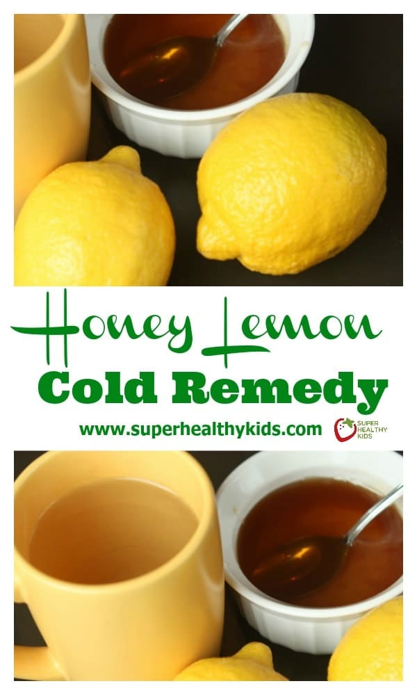 NATURAL REMEDY - Honey Lemon Cold Remedy. Only 3 ingredients needed to help you kick your cold! https://www.superhealthykids.com/honey-lemon-sore-throat-remedy/