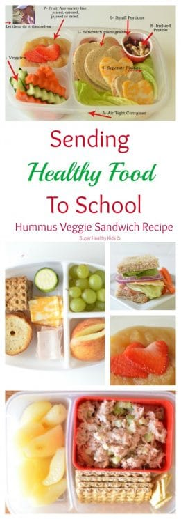 Sending Healthy Food To School {Hummus Veggie Sandwich Recipe}. Cuteness aside, there are some solid packing tips here for you! No Heart cutters necessary! https://www.superhealthykids.com/sending-healthy-food-to-school-hummus-veggie-sandwich/