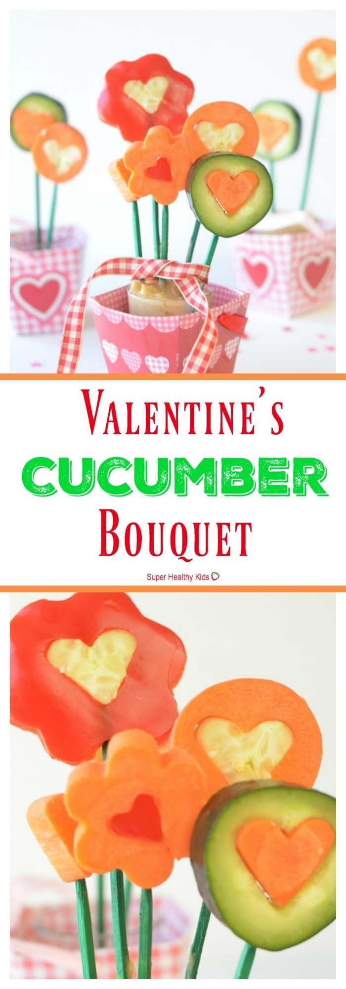 FOOD - Valentines Cucumber Bouquet. Valentine's Day is right around the corner! https://www.superhealthykids.com/valentines-cucumber-bouquet/