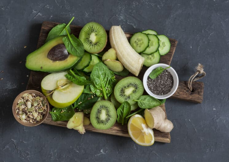 green smoothie ingredients, green fruits and veggies