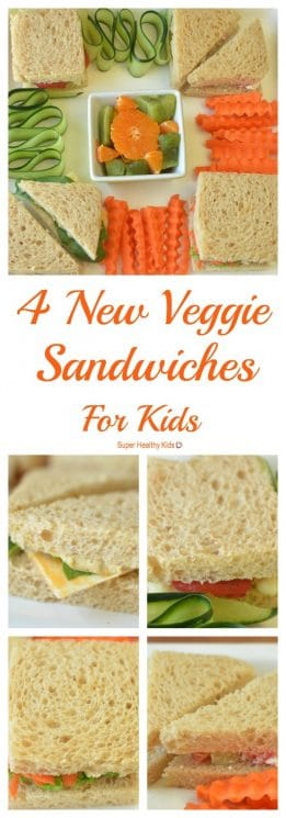 FOOD - Four New Veggie Sandwiches For Kids. Kick PB&J to the curb with these 4 veggie sandwiches! https://www.superhealthykids.com/four-new-veggie-sandwiches-for-kids/