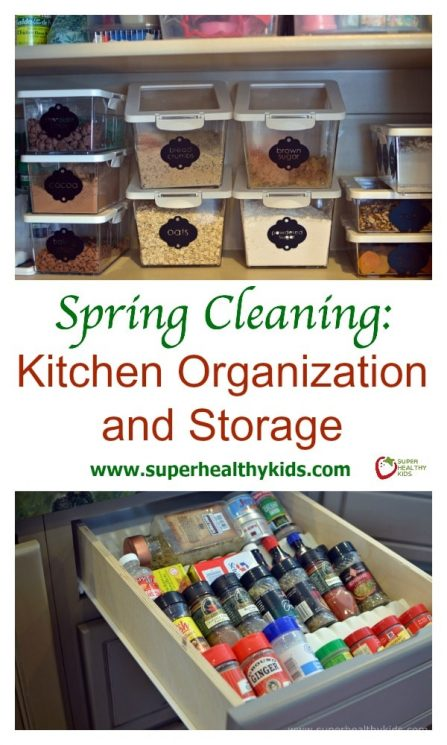 KITCHEN ORGANIZATION - Spring Cleaning: Kitchen Organization and Storage. Save time and waste less!! https://www.superhealthykids.com/spring-cleaning-kitchen-organization-and-storage/