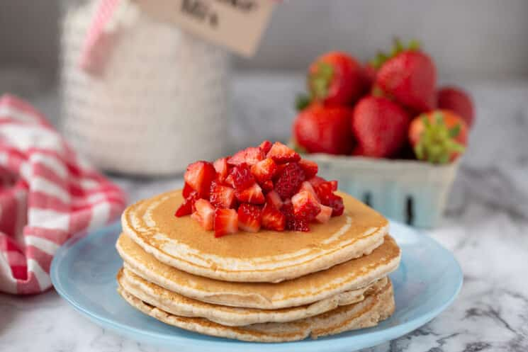 fresh pancakes made from homemade mix