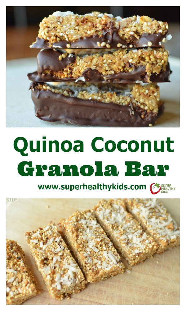 Quinoa Coconut Granola Bars. Our kids already love granola bars, but once you add quinoa, your kids also get fiber and protein! http://www.superhealthykids.com/quinoa-coconut-granola-bars/