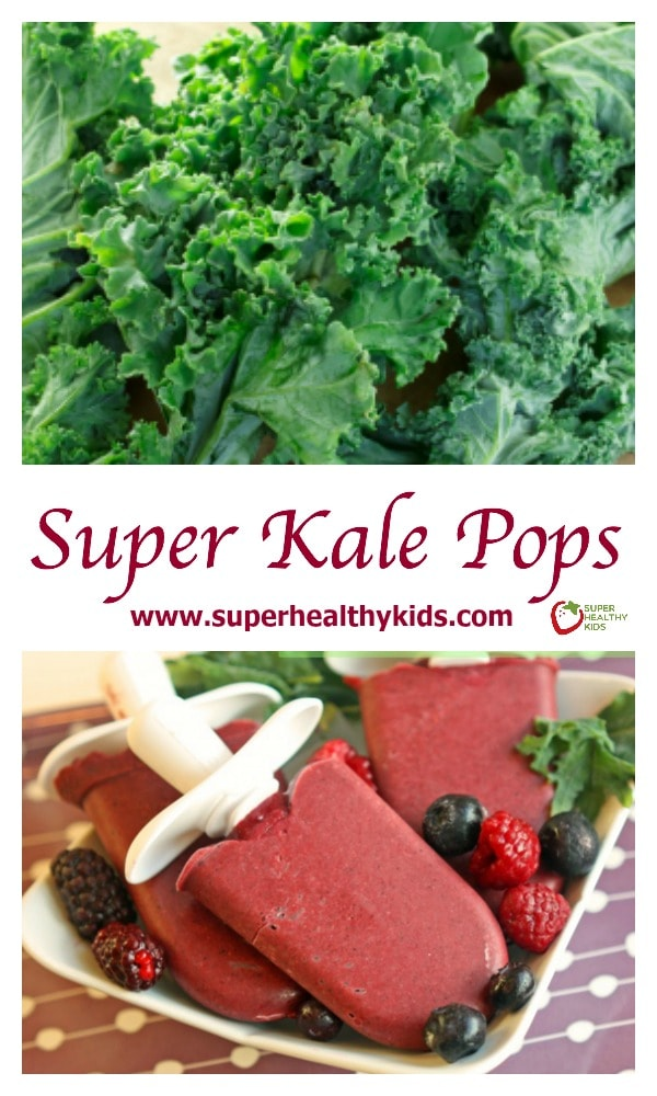 Super Kale Pops Recipe. Who knew you could add kale to popsicles, and the kids wouldn't complain one bit!