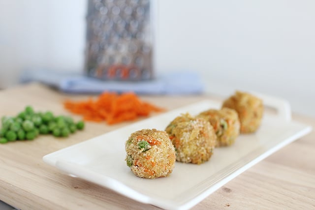 a row of veggie nuggets