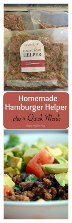 4 Quick Meals with Homemade Hamburger Helper. Make your meat once, and use it for four different dinners- Such a time saver! https://www.superhealthykids.com/4-quick-meals-with-homemade-hamburger-helper/