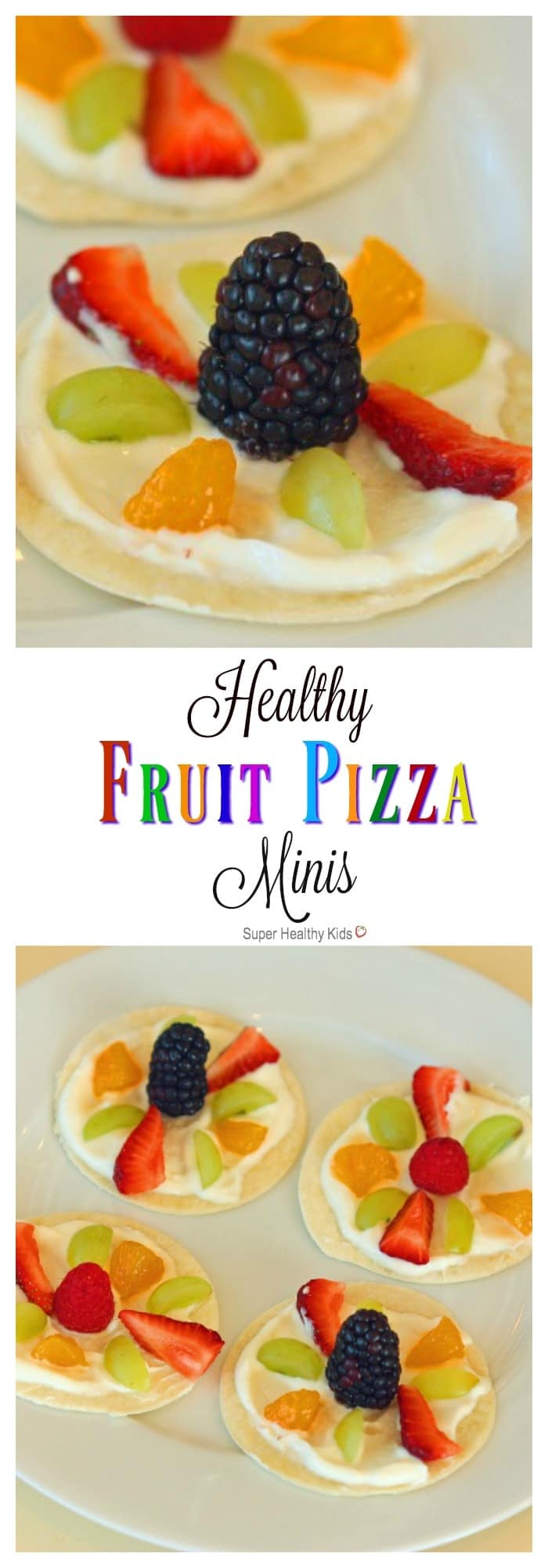 Healthy Fruit Pizza Minis. A quick, no-bake snack that will not disappoint! https://www.superhealthykids.com/healthy-fruit-pizza-minis/