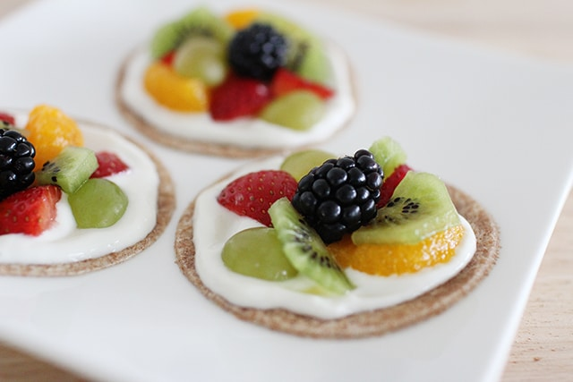 close up of fruit pizzas